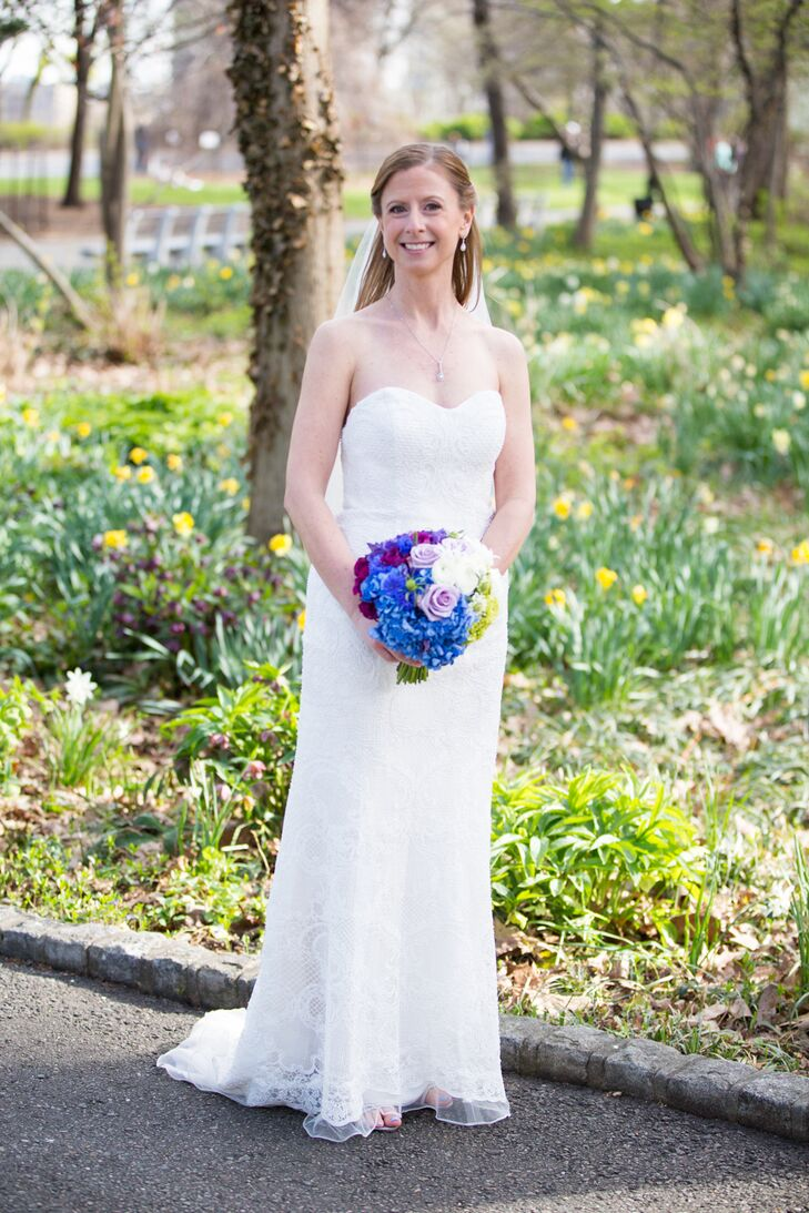 "This Oleg Cassini dress with micropearl beading, a sweetheart neckline and a chapel-style train was the dress Lisa never knew she wanted. ""I fell in love with a gown that I never would have picked myself,"" she says. ""I was fortunate to have an amazing stylist at David's Bridal in Manhattan, Kris, who handpicked the stunning gown."""