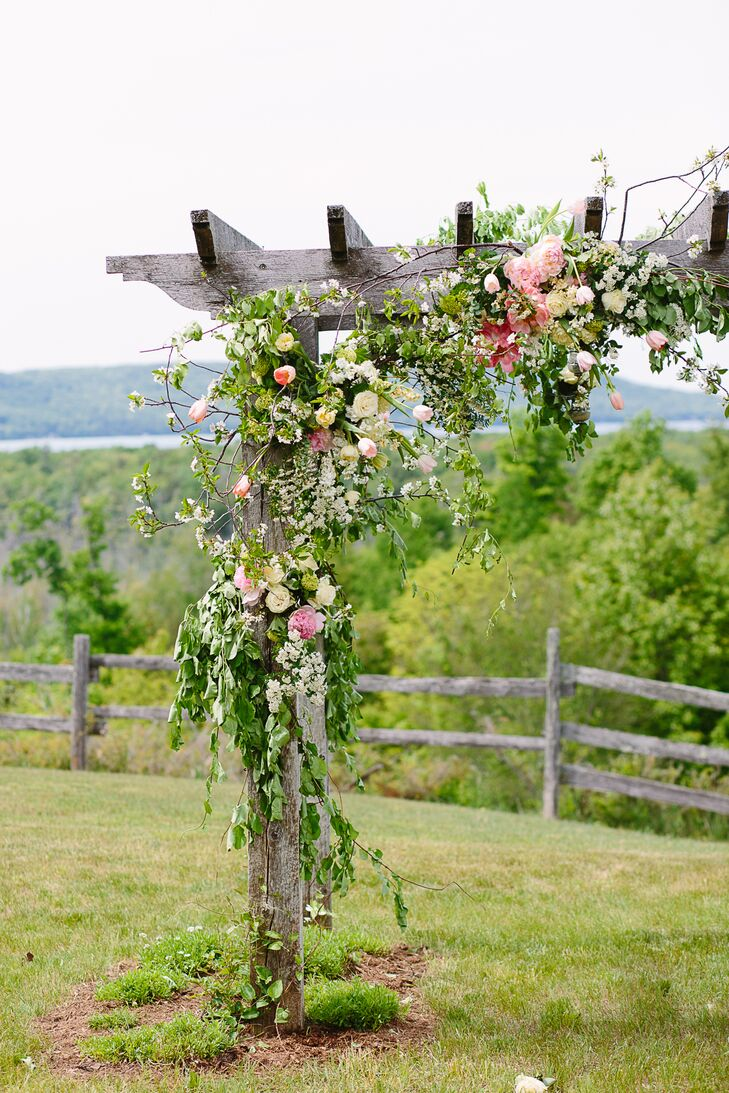 Wood Wedding Arch With Cascading Flowers