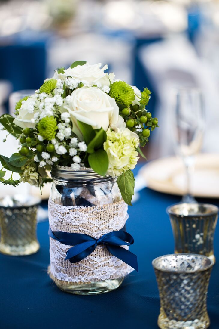 White Rose And Green Hypericum Centerpiece