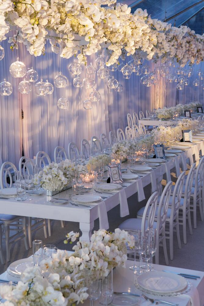 Nancy Liu Chin's floating orchid wedding reception centerpiece