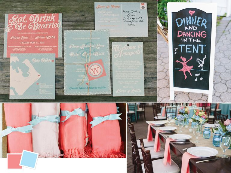 Coral and light blue beach themed wedding inspiration