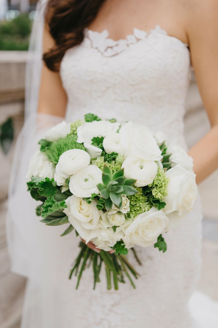 Simple Round White Bouquet With Roses And Peonies