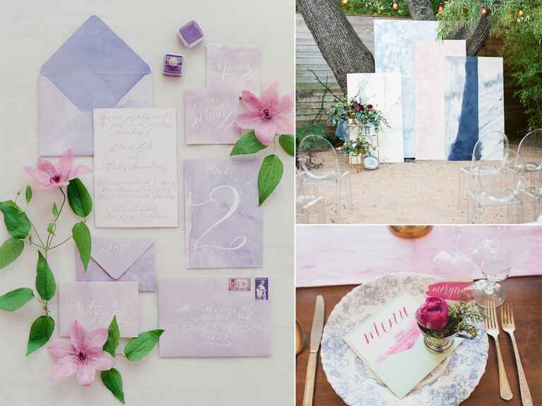 Watercolor tablescape and custom wedding details
