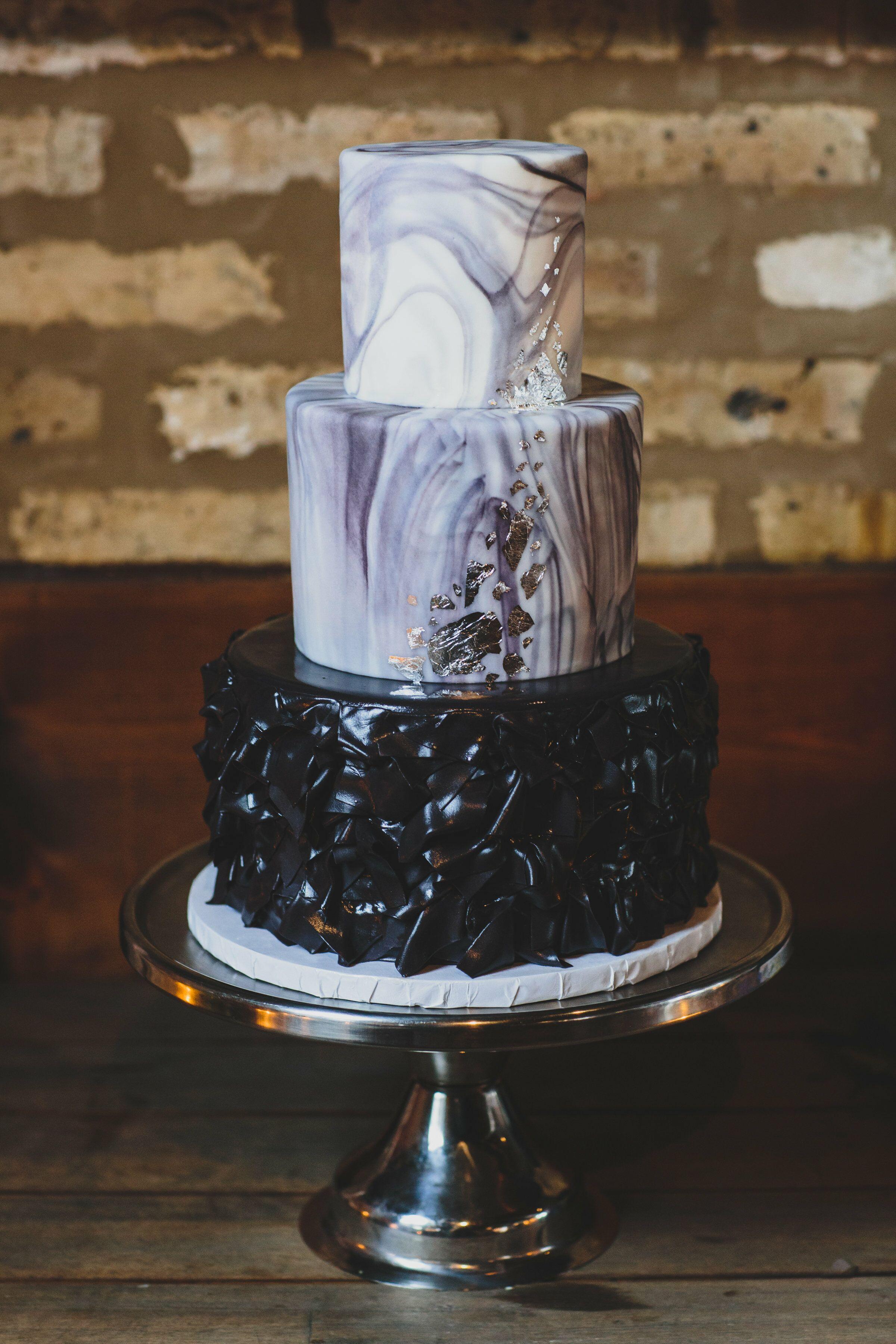 Luxe Black Marble Fondant Cake