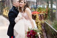 """We didn't select a color palette for the wedding,"" Lily Bieber-Ham (26 and owner of Lily B. & Co.) and Aaron Gittleman (27 and a US Marine Corps pilo"