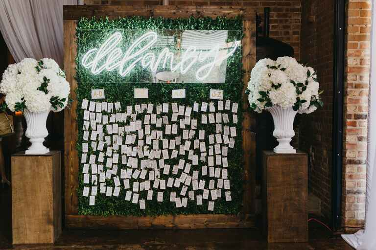 Neon sign at winter wedding