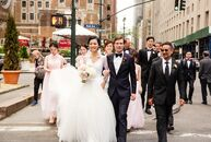 For their summer wedding in New York City, Wanchen Li (27 and a beauty product retail entrepreneur) and Erik Kaiser (45 and a start-up entrepreneur) p