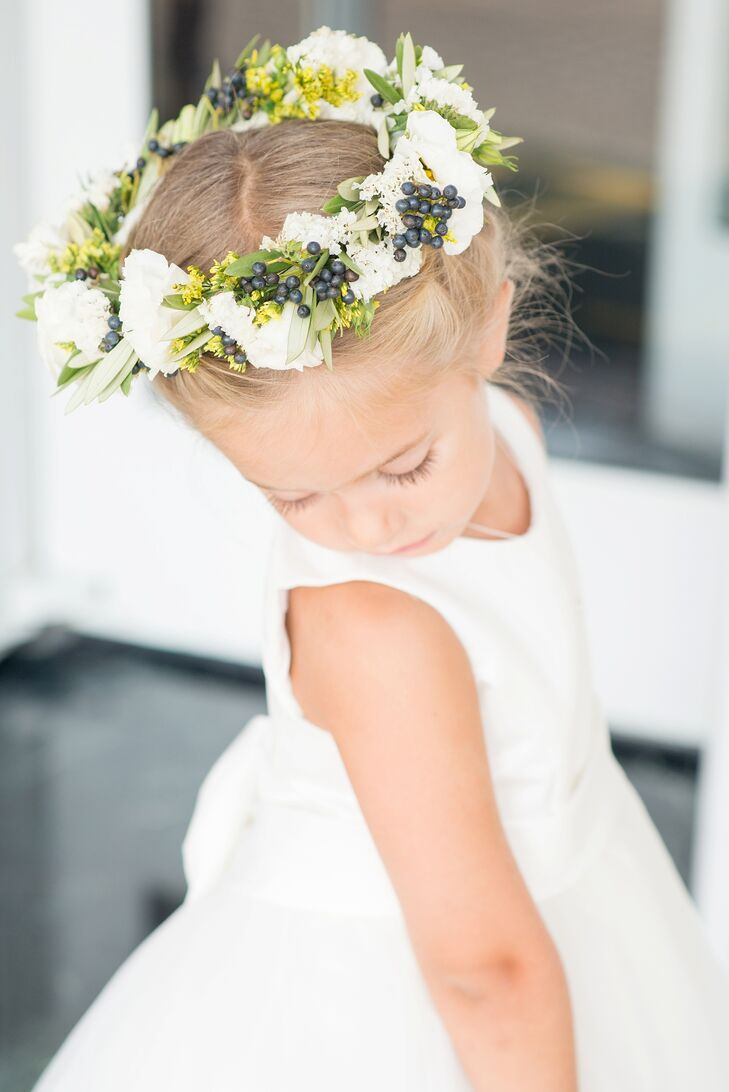 Blueberry And Carnation Flower Girl Crown