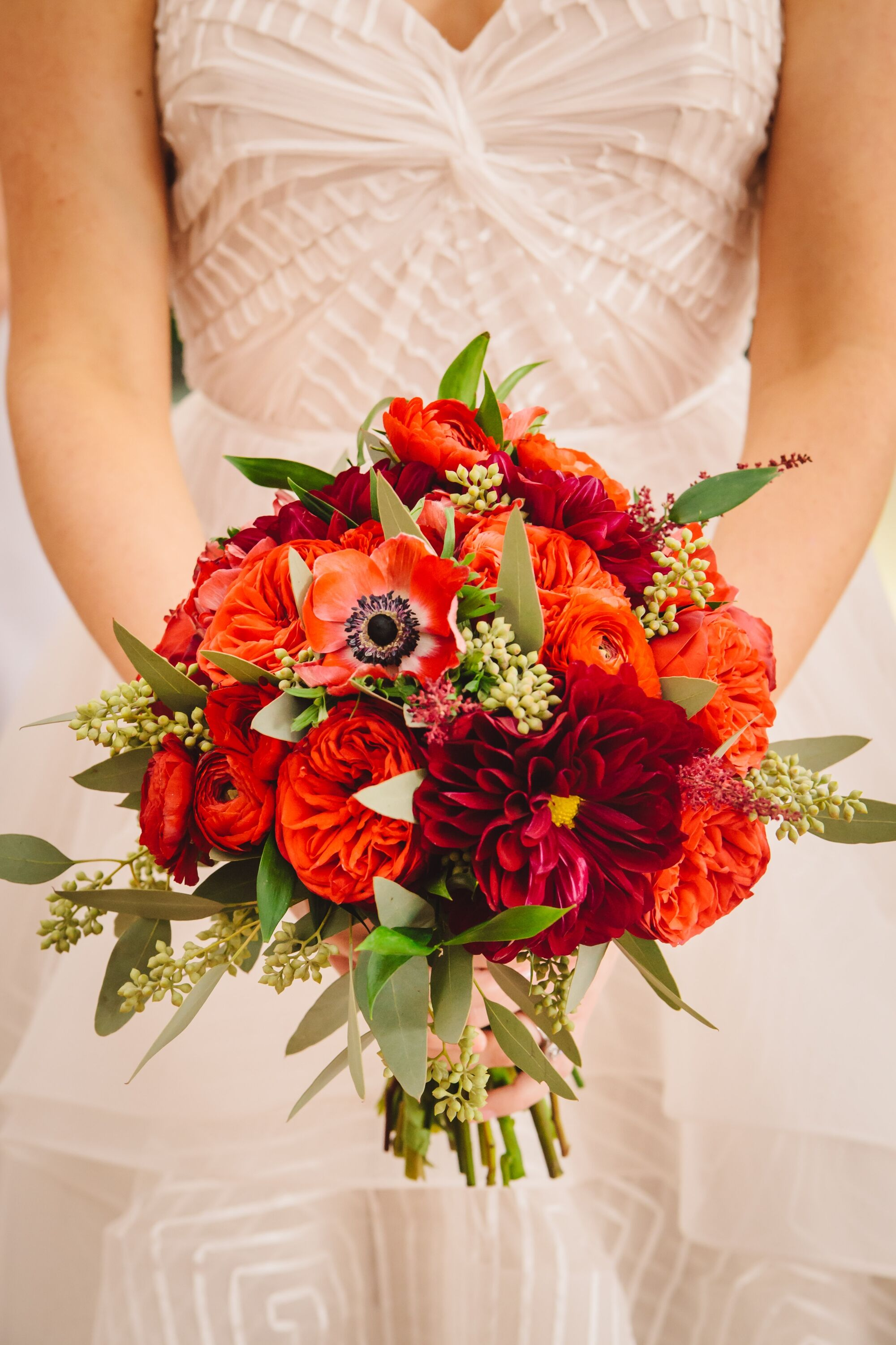 Red Bridal Bouquet With Anemones Garden Roses And Dahlias