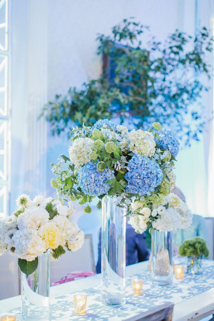 White and blue hydrangea centerpiece images - Blue and white centerpieces ...