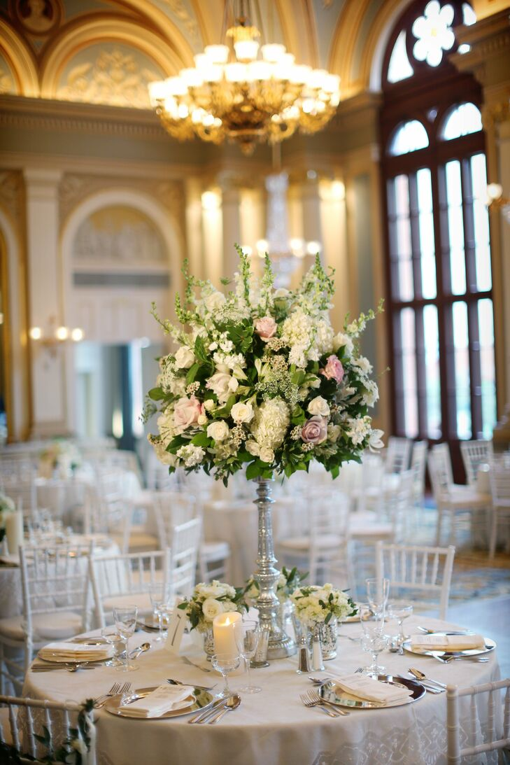 Tall rose and hydrangea centerpieces