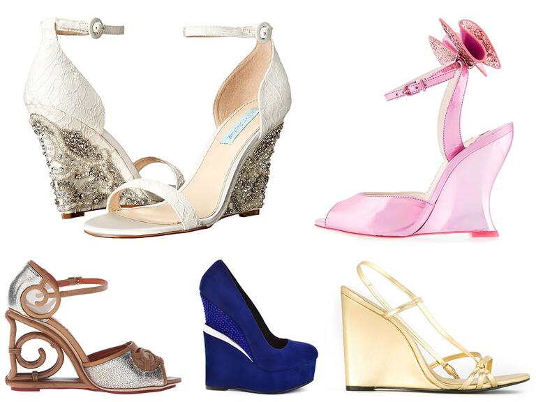 Blush, ivory, blue, purple, silver, gold, white wedding wedges