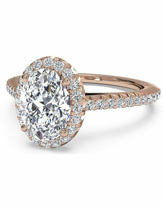 Ritani Oval Cut French-Set Halo Pave Diamond Band Engagement Ring in 18kt Rose Gold (0.21 CTW) Engagement Ring photo