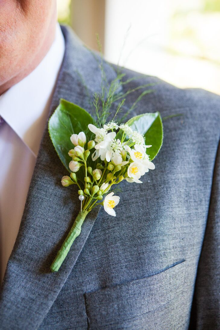 White Wildflower and Fern Boutonniere