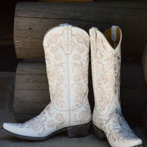 White Hand Stitched Cowboy Boot Wedding Shoes