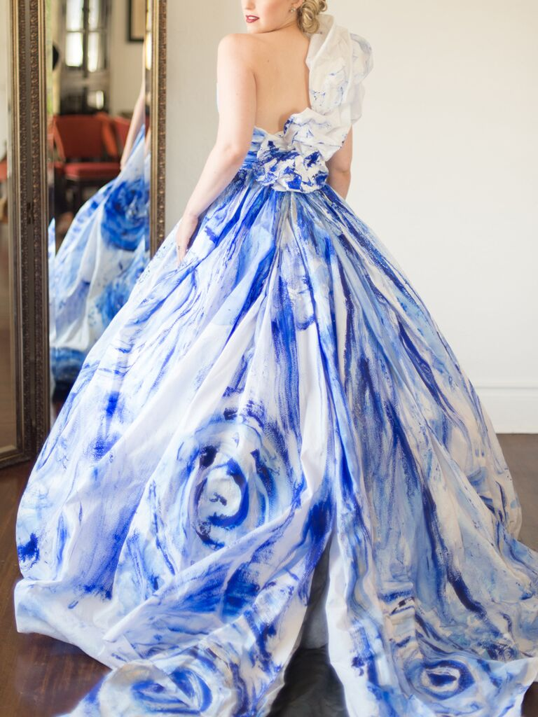 Rminé Ball Gown Wedding Dress With Blue Handpainted Details