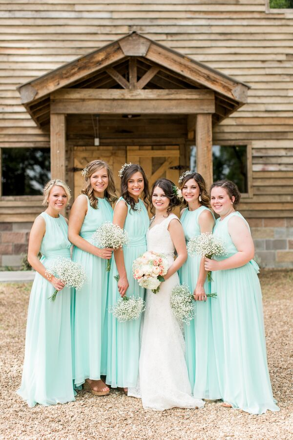 Floor Length Turquoise Bridesmaid Dresses