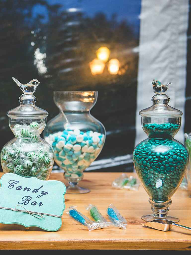 Light blue and green wedding reception candy bar idea