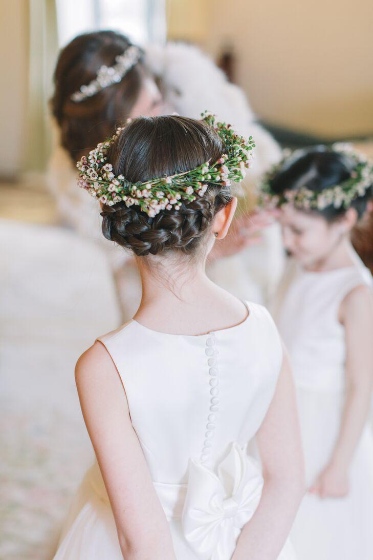 Braided Updo With Waxflower Flower Crown