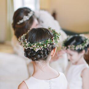 Wedding updos braided updo with waxflower flower crown junglespirit Images
