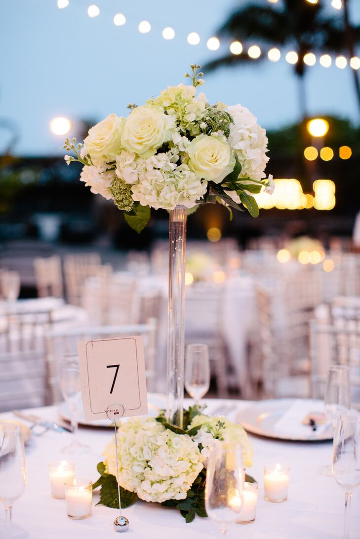 Tall modern hydrangea and rose centerpieces