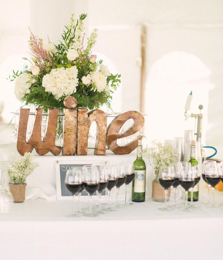 wine bar at wedding