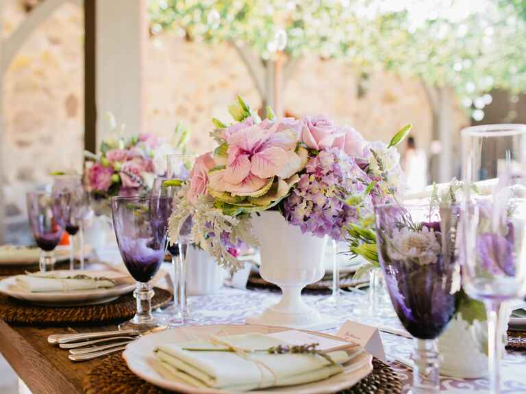 Pink and purple garden bridal shower table decor