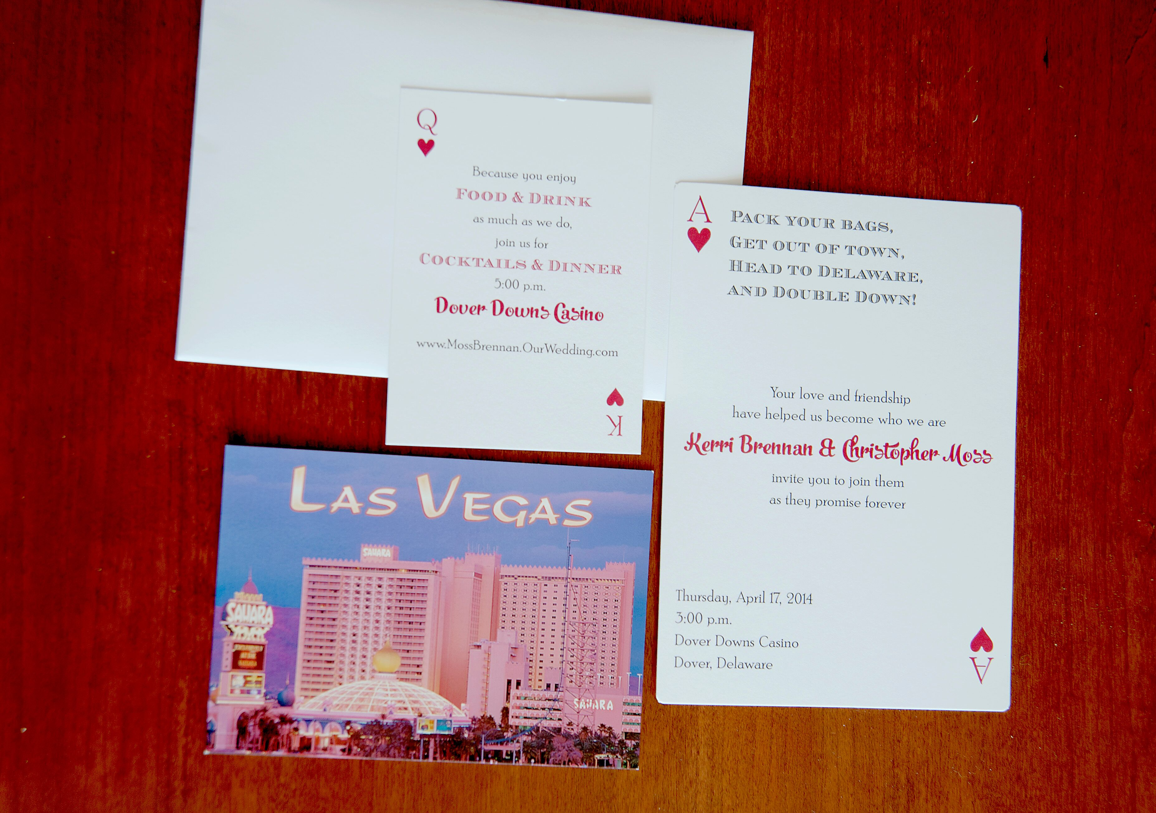 Las Vegas-Themed Playing Card Wedding Invitations