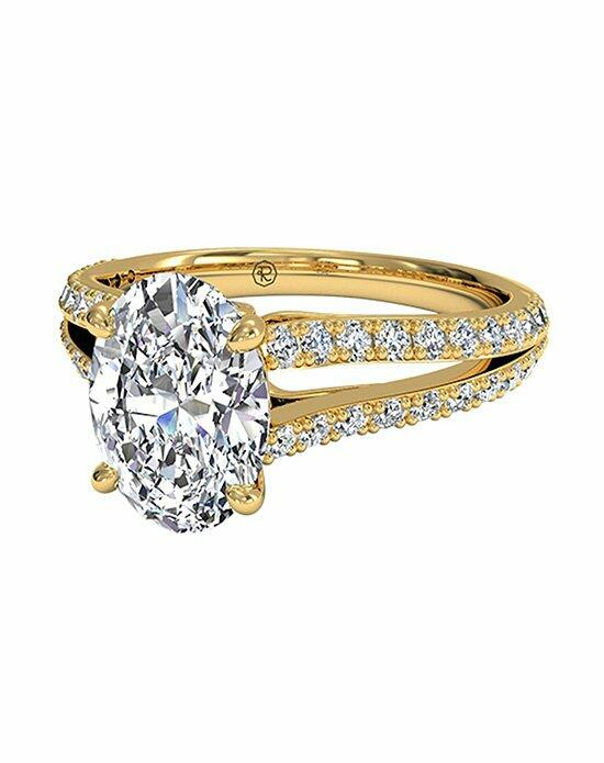 Ritani Oval Cut Double French-Set Diamond 'V' Engagement Ring with Surprise Diamonds in 18kt Yellow Gold (0.24 CTW) Engagement Ring photo