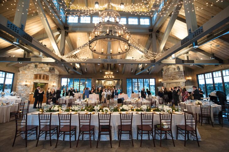 Rustic, Gothic Black-Iron Chandelier-Decorated Wedding Reception