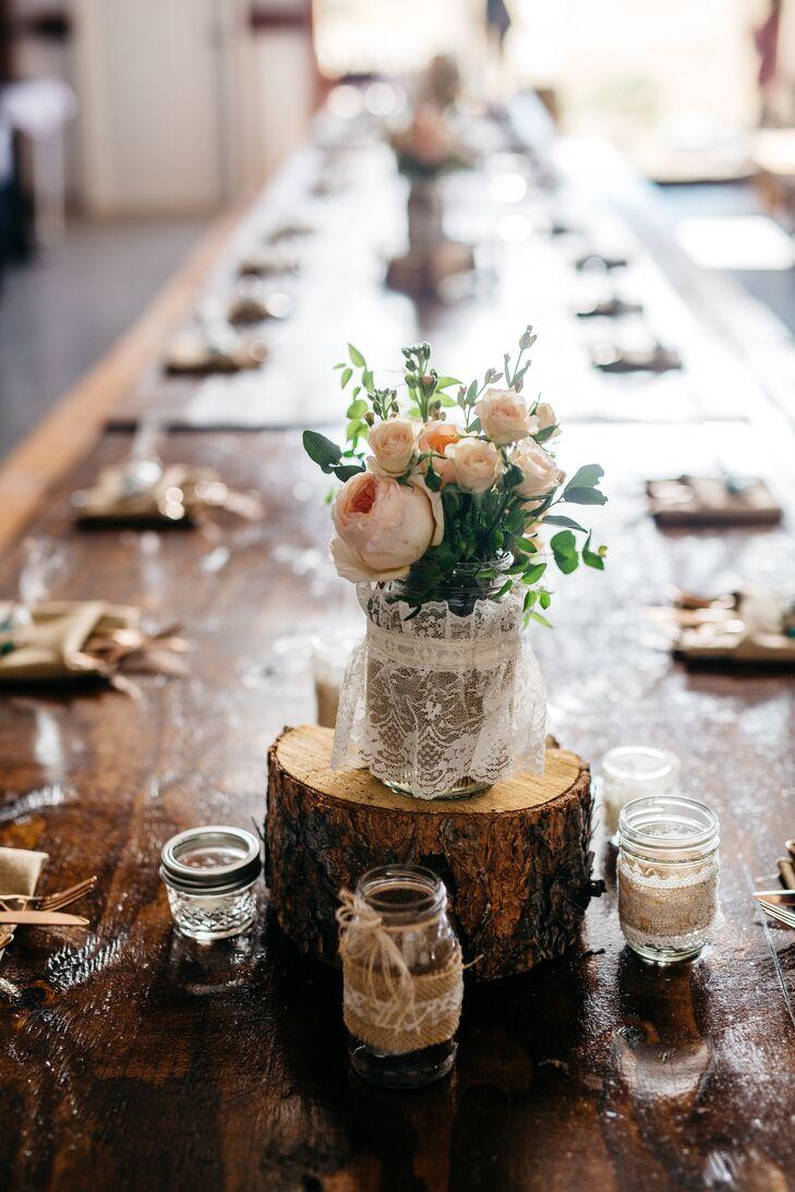 Tree Stump Centerpieces With Mason Jars