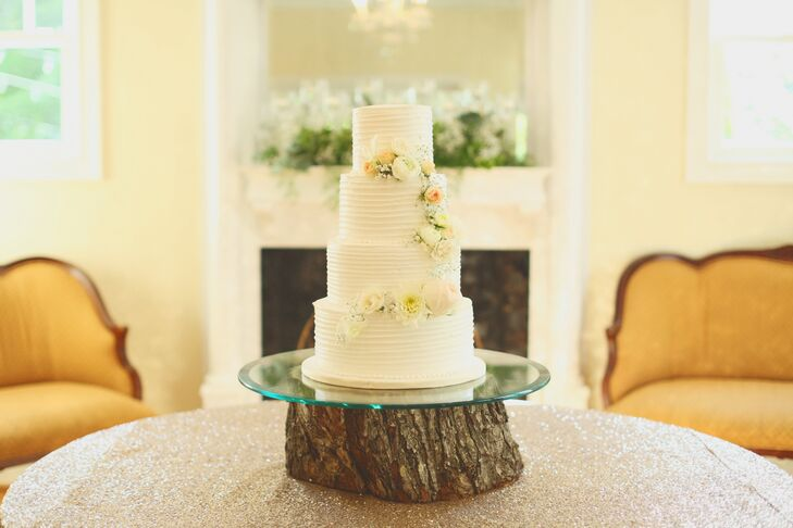 Buttercream Wedding Cake on Natural Wood Stand