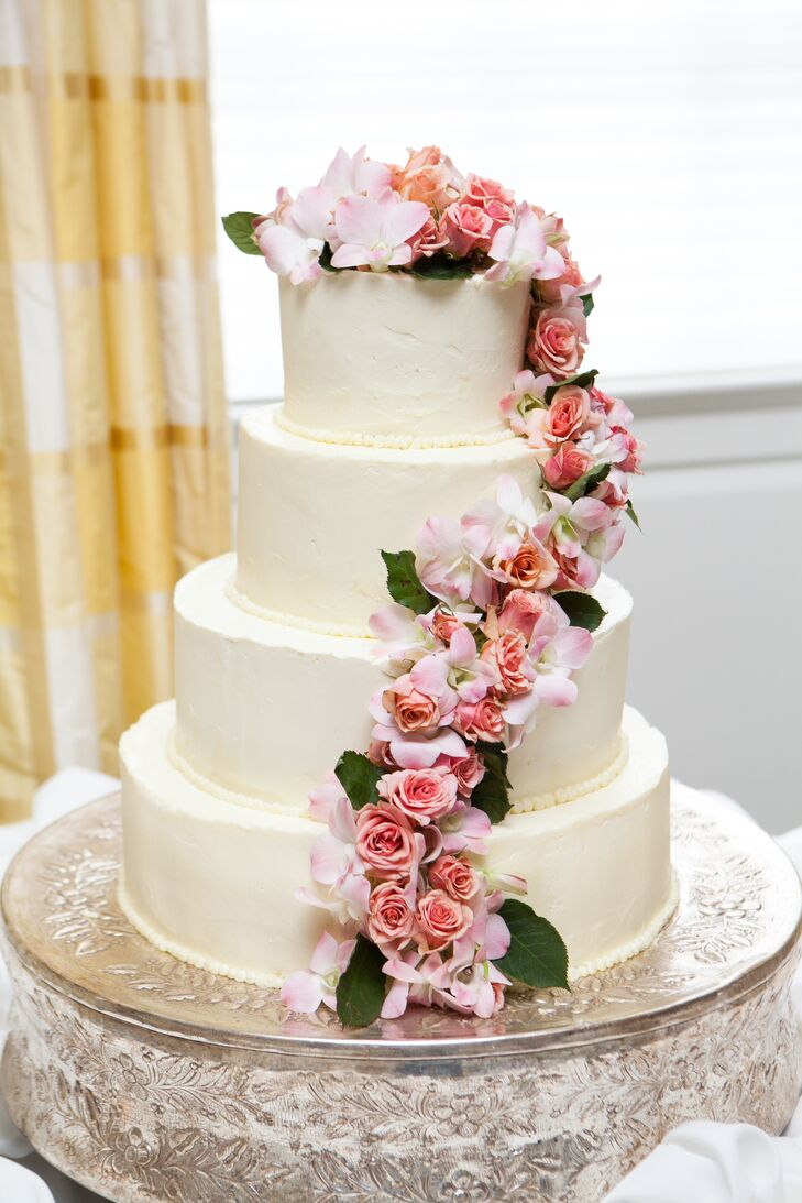 Traditional Buttercream Wedding Cake with Fresh Rose Cascade