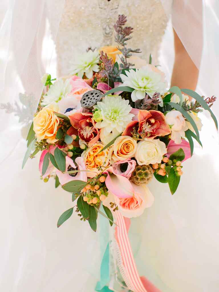 Modern bridal bouquet with succulents and seed pods