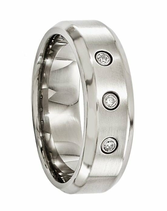Larson Jewelers AESCULAPIUS Beveled Titanium Ring with Brushed center and .09 ct Diamonds by Edward Mirell - 7 mm Wedding Ring photo