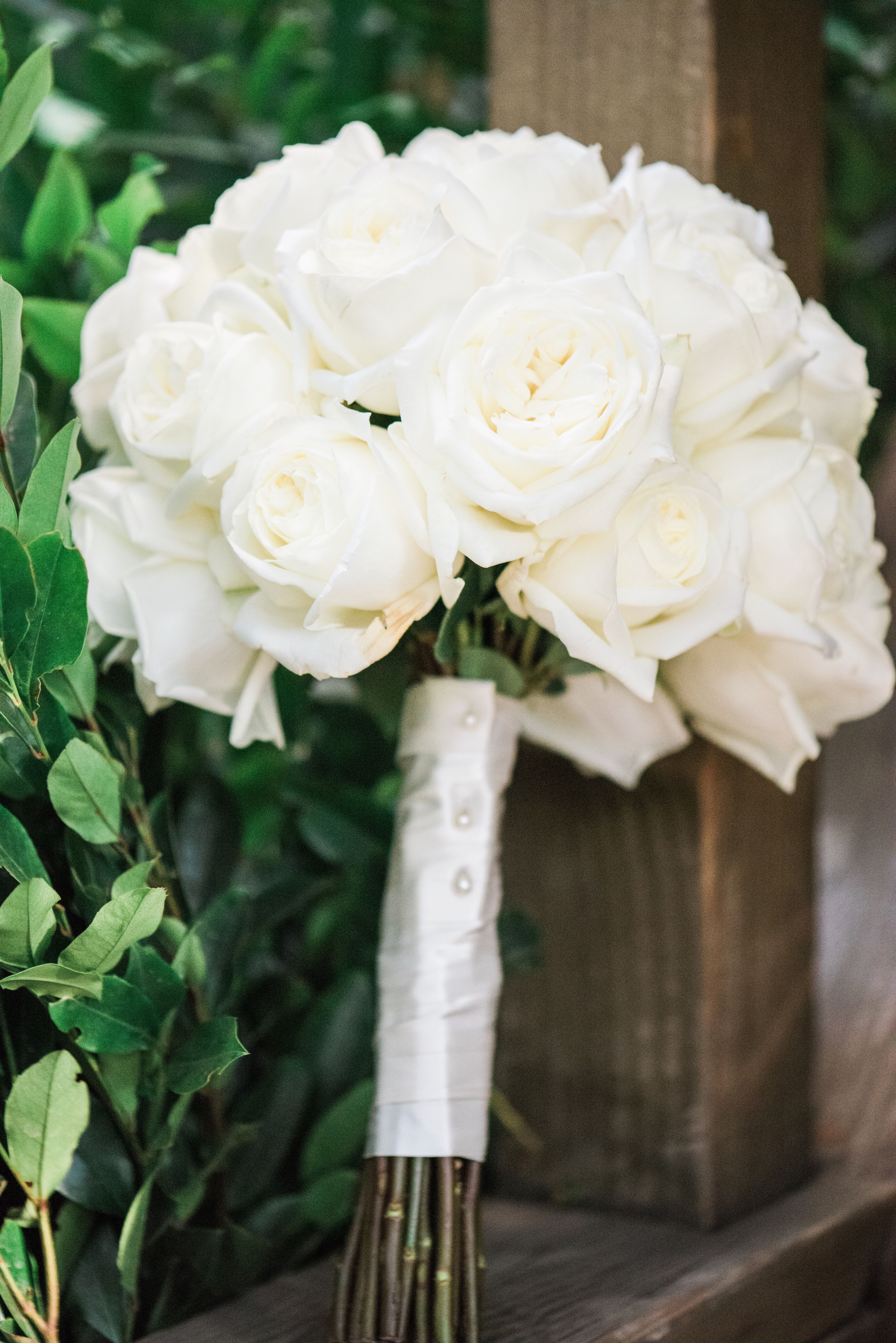 Simple, Elegant White Rose Bouquet