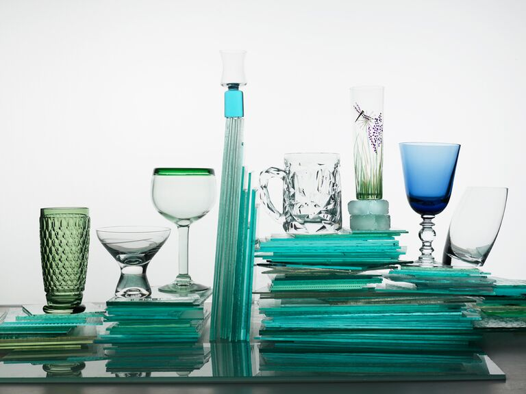 Blue and green glassware registry items