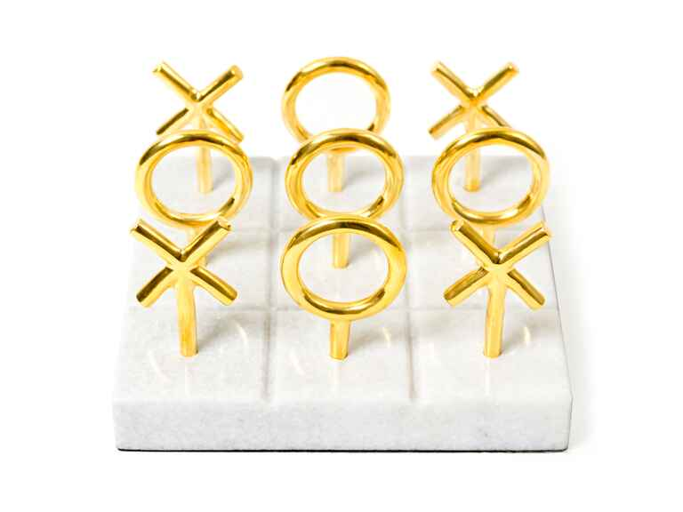 Gold and marble tic-tac-toe coffee table game