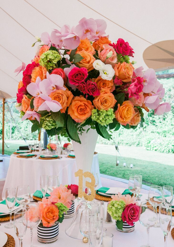 Coral rose and orchid centerpieces
