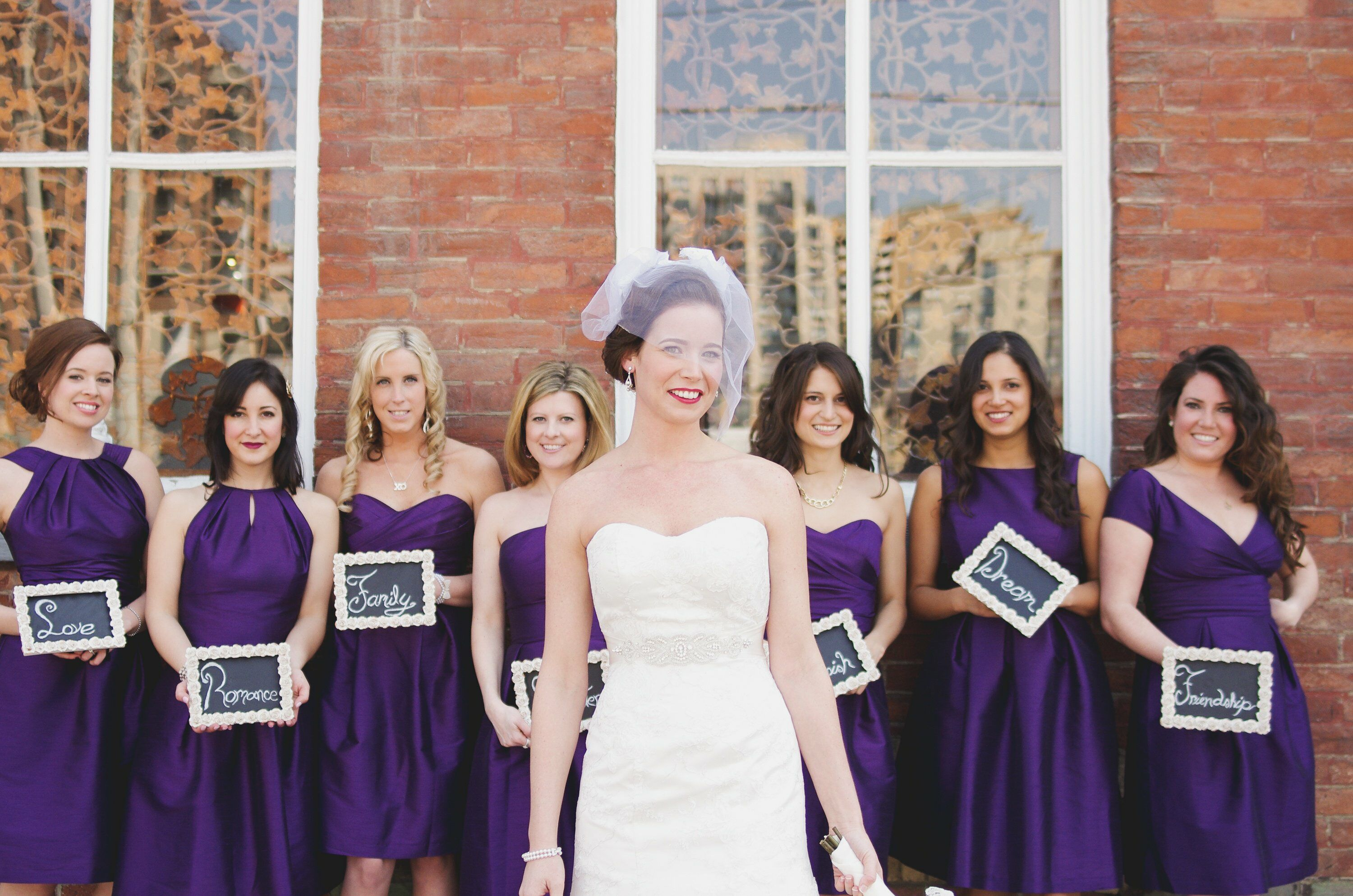 Purple bridesmaid dresses bridal party looks ombrellifo Choice Image