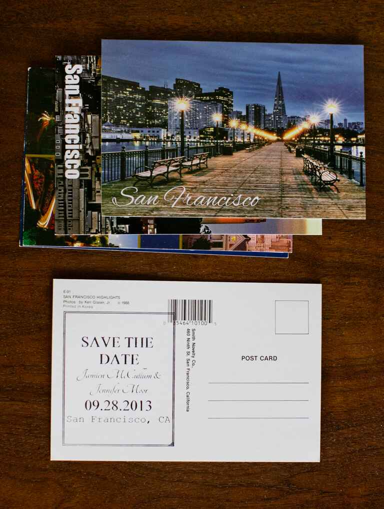 Postcard save-the-dates for a destination wedding