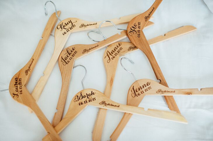 Each bridesmaid received a personalized wooden hanger for her dress.