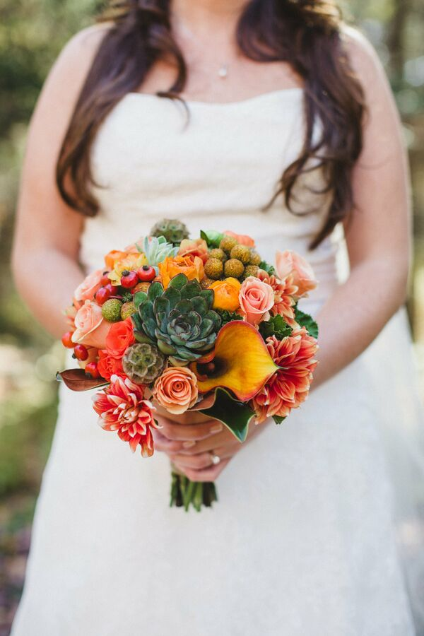 Calla Lily and Succulent Bridal Bouquet