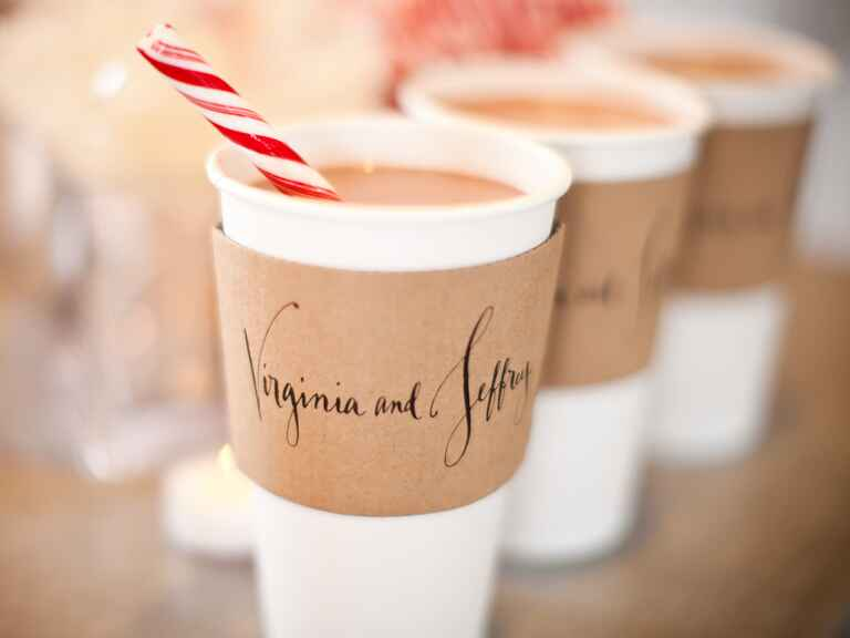 Hot chocolate drink station for fall and winter weddings