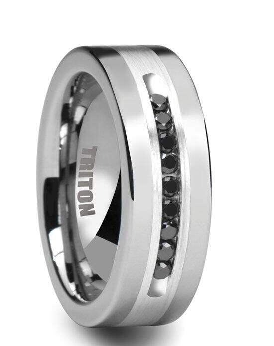 Larson Jewelers CALVIN Flat Tungsten Ring with Silver Inlay and Channel Set Black Diamonds by Triton Rings - 8mm Wedding Ring photo