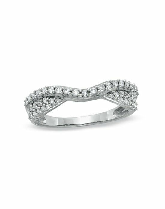 Zales 3/8 CT. T.W. Diamond Pavé Double Twist Contour Band in 14K White Gold  18045880 Wedding Ring photo