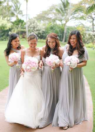 gray bridesmaid dresses | Cristina Elena Photography | Blog.theknot.com