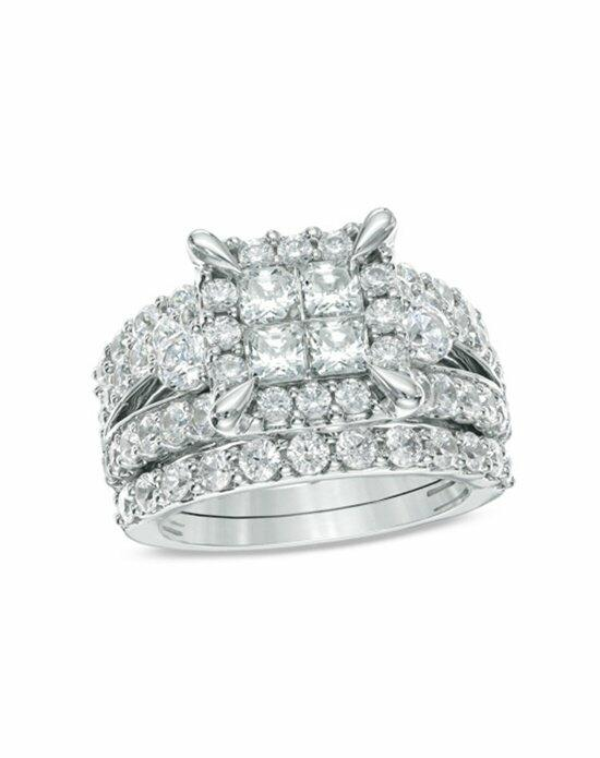 Zales 4 CT. T.W. Princess-Cut Quad Diamond Frame Bridal Set in 14K White Gold  19971182 Engagement Ring photo