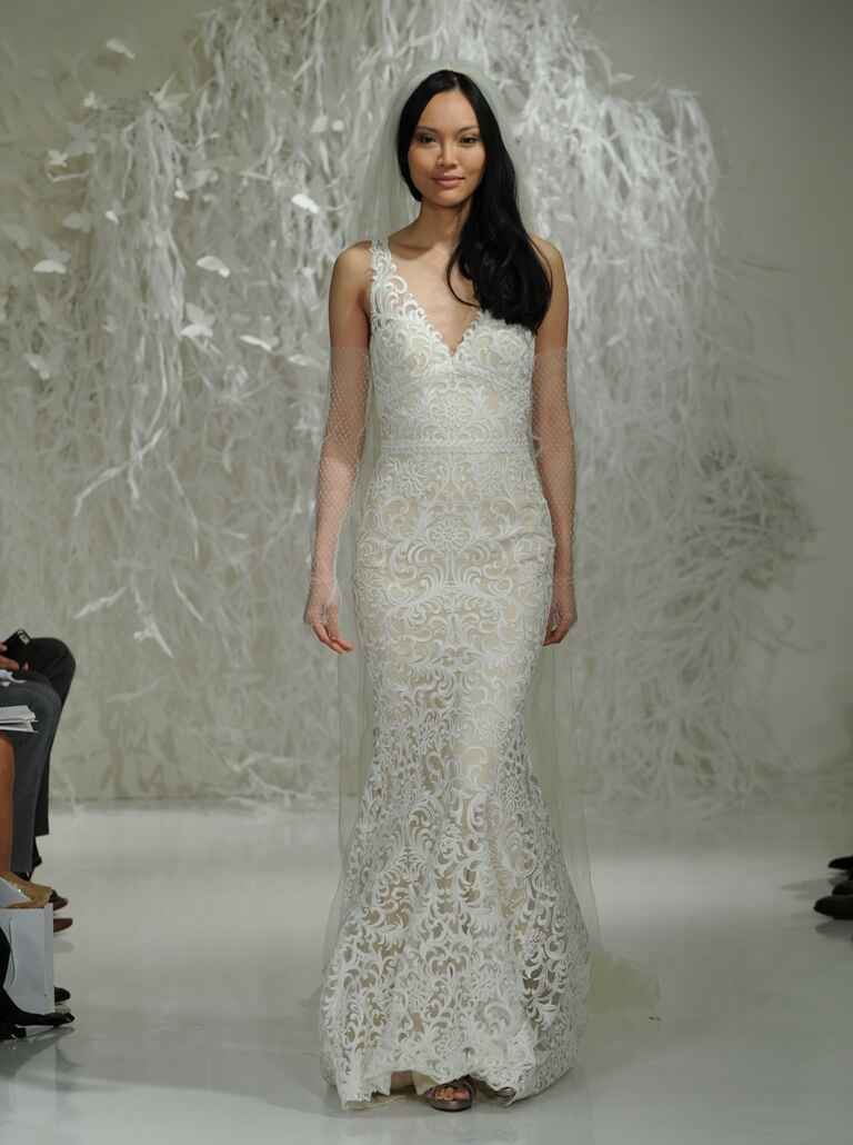 Watters Fall 2016 white lace overlay sheath wedding dress with subtle champagne tint