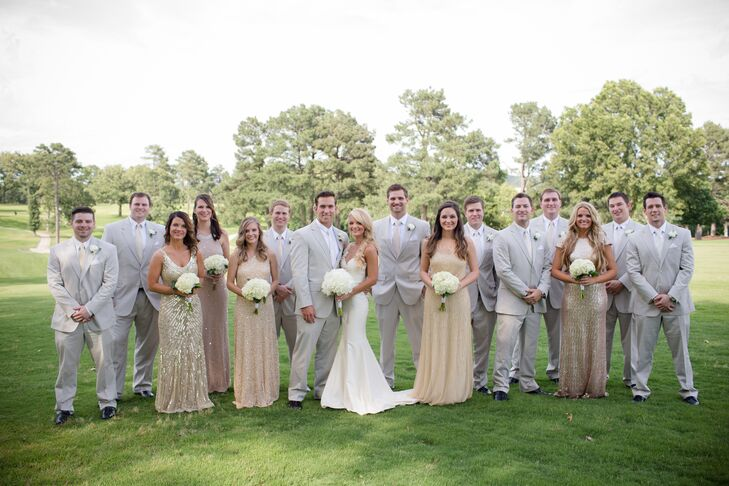 Bridesmaid Dresses In Neutrals Champagne Beige And Pale: Light Gray And Champagne Groomsmen Look